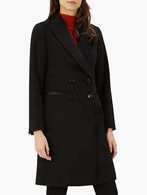 Double Breasted Leather Trim Boyfriend Coat, Black