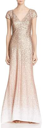 Carmen Marc Valvo Womens Sequined Ombre Evening Dress