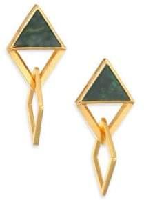 Stephanie Kantis Element Green Moss Agate Drop Earrings