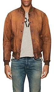 Rrl Men's Reversible Leather Bomber Jacket-Brown Size M