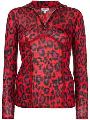 Kenzo half zip leopard top