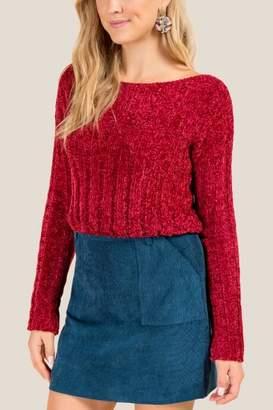 francesca's Elle Chenille Cropped Sweater - Brick