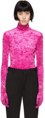 Balenciaga Pink Velour Gloves Turtleneck