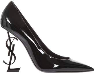 Saint Laurent Pumps Opyum Shoes Pumps In Patent Leather With Textured Metal Heel