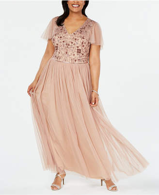 Adrianna Papell Plus Size Beaded Capelet Gown