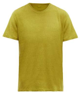 120% Lino Crew Neck Linen T Shirt - Mens - Yellow