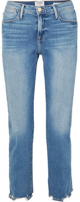 Frame Le High Cropped Frayed Straight-leg Jeans - Mid denim