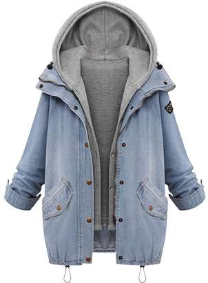 Amzeca Big Winter Women Warm Coat Collar Hooded Jacket Denim Trench Parka Outwear Overcoat Sport Casual Cardigan Winter Hoodies Tops Women's Shops Sweatshirt Chic Pullovers