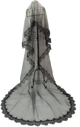 AliceHouse 1T 1 Tier Black Ivory Lace Edge Bridal Wedding Veil Cathedral MV018