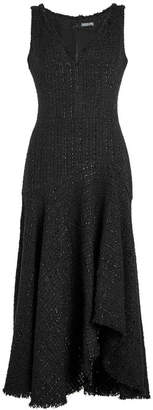 Alexander McQueen Tweed Asymmetric Dress with Wool and Cotton