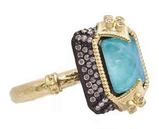 Armenta Old World Dulcinea Blackened Sterling Silver & 18K Yellow Gold Blue Turquoise & Rainbow Moonstone Doublet Pave Diamond Ring - Size 6.5