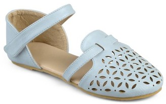 Brinley Co. Brinley Kids Little Girl Faux Leather Multi Strap Laser Cut Flats