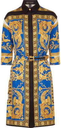 Versace Printed Silk-twill Shirt Dress - Gold