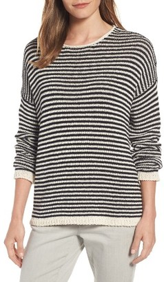 Women's Eileen Fisher Stripe Knit Cotton Blend Boxy Top $248 thestylecure.com