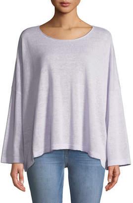 Eileen Fisher Organic Linen Jewel-Neck Box Top, Plus Size