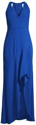 BCBGMAXAZRIA Sleeveless Halter Ruffle Gown