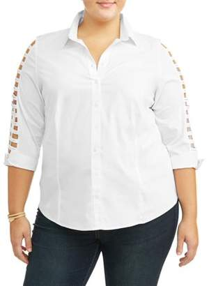 Lifestyle Attitudes Women's Plus Ladder Sleeve Button Up Blouse