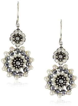 Miguel Ases Fresh Water Pearl and Sterling Silver Circles Earrings