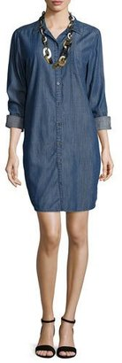 Eileen Fisher Long-Sleeve Denim Shirtdress $218 thestylecure.com