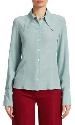 Victoria Beckham Slash Sleeve Silk Shirt