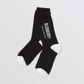 Burberry Logo Intarsia Cotton Blend Socks