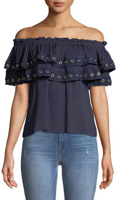 MISA Los Angeles Seona Off-the-Shoulder Ruffle Top