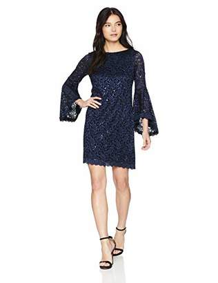 Jessica Howard Women's Petite Asymmetrical Bell Sleeve Shift Dress