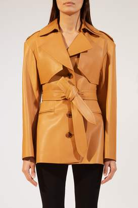 KHAITE The Billy Trench in Cognac Leather
