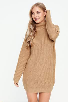Missguided Womens Roll Neck Basic Dress - Brown