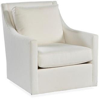 Fairfax Swivel Glider Chair - White Crypton - Miles Talbott