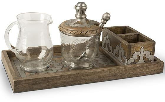 GG Heritage Wood and Metal Cream and Sugar Set