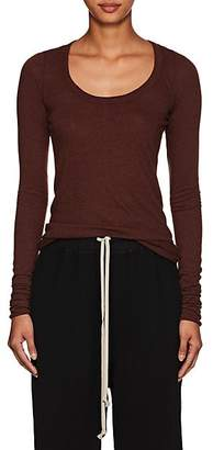 Rick Owens Women's Raw-Edge Long-Sleeve T-Shirt - Wine