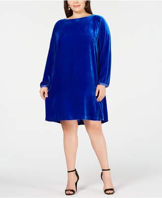 Eileen Fisher Plus Size Boatneck Velvet Dress