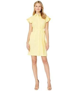 Calvin Klein Flutter Sleeve Eyelet Shirtdress with Self Tie Belt