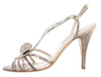 Oscar de la Renta Lizard Slingback Sandals