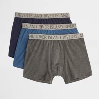 River Island Blue RI print trunks multipack