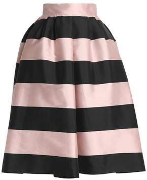 Rochas Striped Duchesse Satin Midi Skirt
