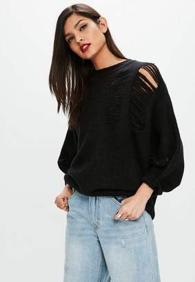 Missguided Black Distressed Batwing Sweater