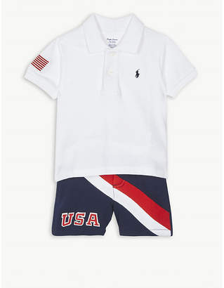 Ralph Lauren USA cotton polo shirt and shorts set 3-24 months