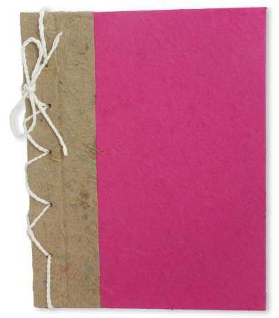 Fuchsia Reflections Hand Crafted Journal with Saa Paper from Thailand (25 pages)