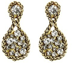 Other Designers Large Chain Wrap Crystal Earrings