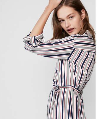 Express striped long sleeve shirt dress