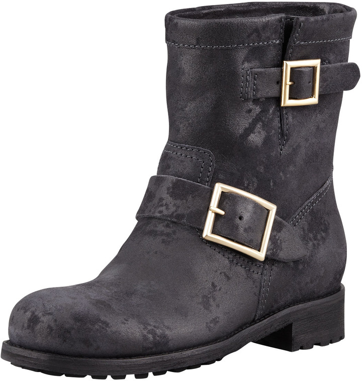 Jimmy Choo Youth Buckled Waxed Suede Bootie