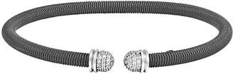 Italian Silver Wire Wrapped Crystal Endcap Cuff, Medium