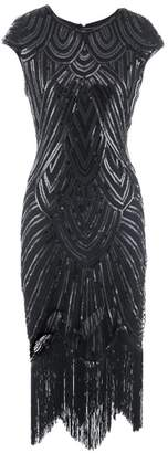 Ez-sofei Women's Vintage Sequined Embellished Tassels Gatsby Flapper Cocktail Dresses (S, )