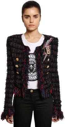 Balmain Fringed Tweed Blazer W/ Patch