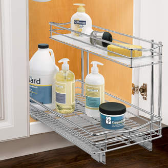 Lynk Roll Out Under Sink Cabinet Organizer - Pull Out Two Tier Sliding Shelf - 11.5 in. wide x 18 inch deep - Chrome