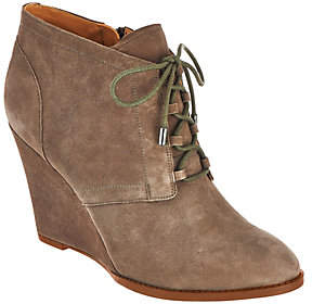 As Is Franco Sarto Suede Lace-up Wedge Ankle Boots - Lennon $66 thestylecure.com