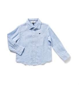 Armani Junior Boys Long Sleeve Linen Shirt