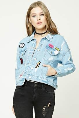 Forever 21 Distressed Denim Patch Jacket